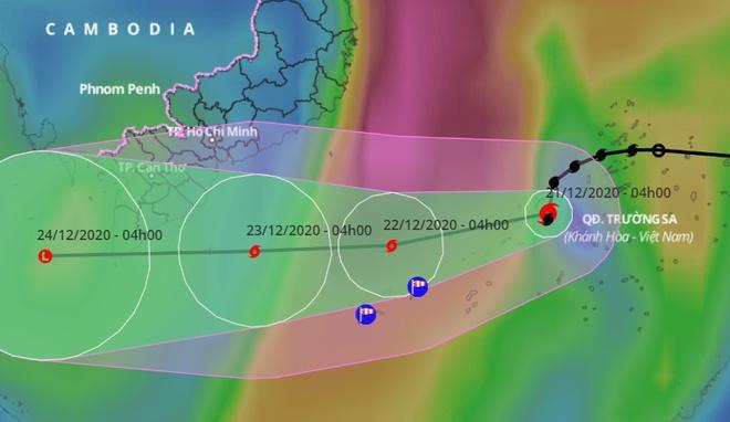 Dự báo đường đi của bão số 14 trên Biển Đông. Ảnh:VNDMS.