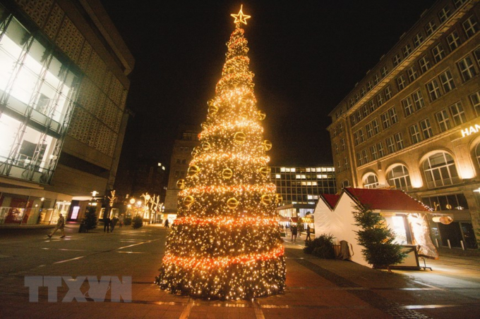 Cây thông Noel được thắp sáng tại một khu chợ Giáng sinh nhỏ ở Essen, Đức. (Ảnh: THX/TTXVN)
