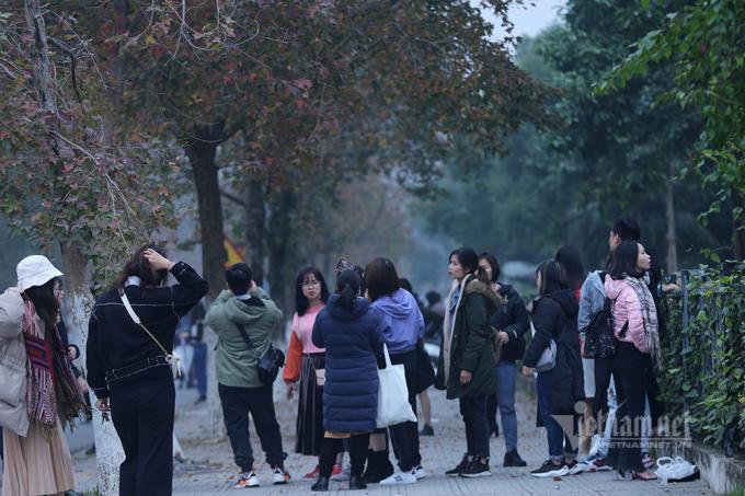 Lượng người đổ đến check-in trên con đường có chiều dài chừng 400m.