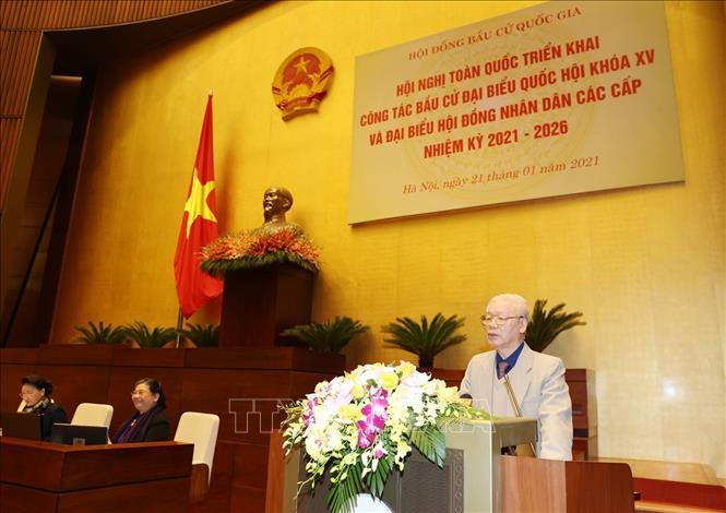 Tổng Bí thư, Chủ tịch nước Nguyễn Phú Trọng phát biểu chỉ đạo Hội nghị. Ảnh: Trí Dũng/TTXVN