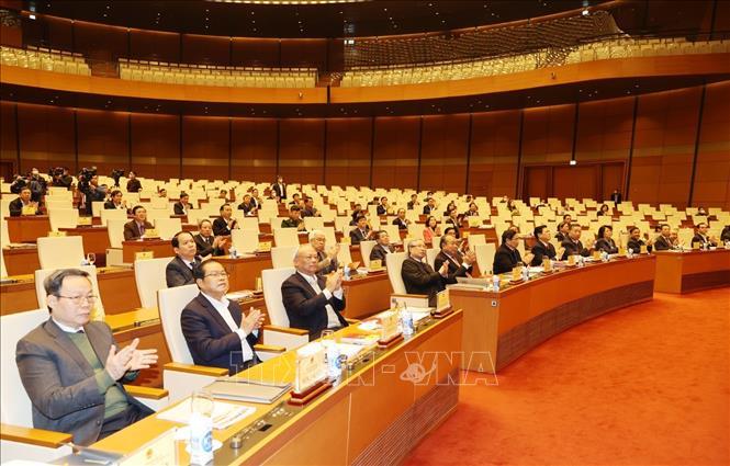 Các đồng chí lãnh đạo Đảng, Nhà nước và các đại biểu dự Hội nghị. Ảnh: Trí Dũng/TTXVN