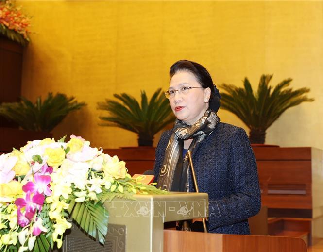 Chủ tịch Quốc hội Nguyễn Thị Kim Ngân, Chủ tịch Hội đồng bầu cử Quốc gia phát biểu tại Hội nghị. Ảnh: Trí Dũng/TTXVN.