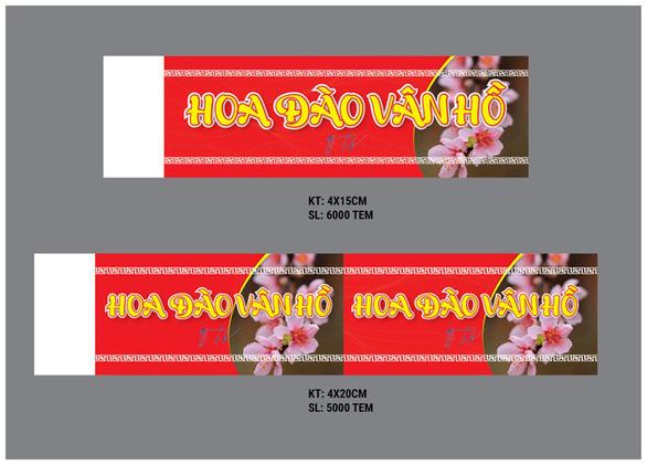 Mẫu tem dán cho đào trồng ở huyện Vân Hồ, Sơn La - Ảnh: UBND huyện Vân Hồ