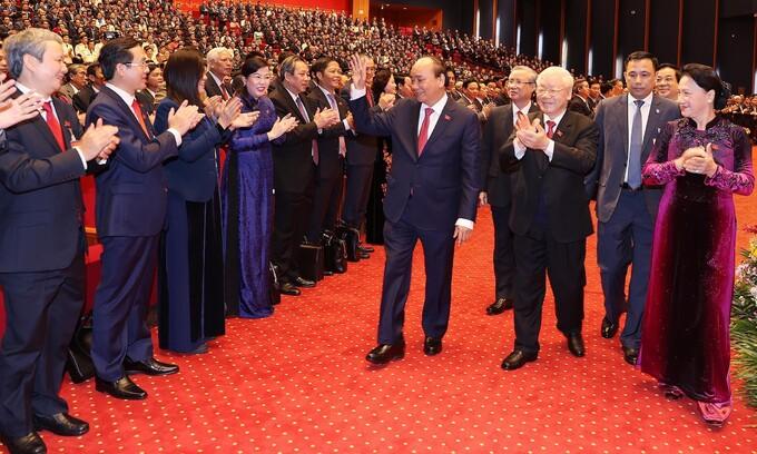 Lãnh đạo Đảng, Nhà nước và các đại biểu dự Đại hội XIII tại phiên trù bị, sáng 25/1. Ảnh: TTXVN