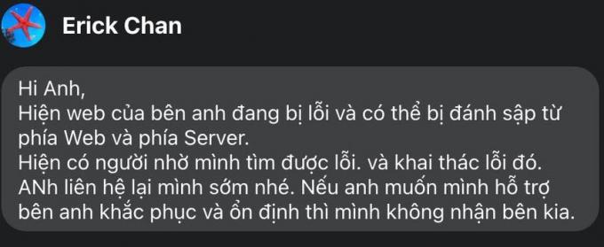 Tin nhắn đe dọa từ tài khoản có tên Erick Chan.