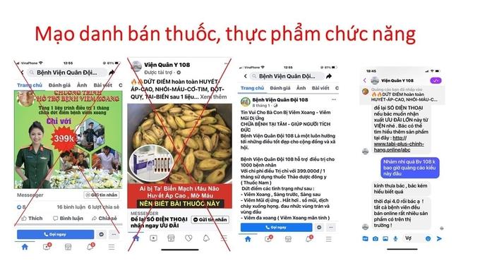 Trang fanpage được Bệnh viện 108 khẳng định là mạo danh để bán thuốc, thực phẩm chức năng