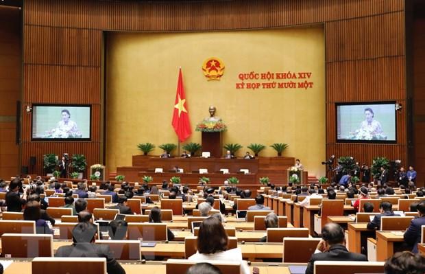 Các đại biểu dự họp tại nghị trường dưới sự điều hành của Chủ tịch Quốc hội Nguyễn Thị Kim Ngân. (Ảnh: TTXVN)