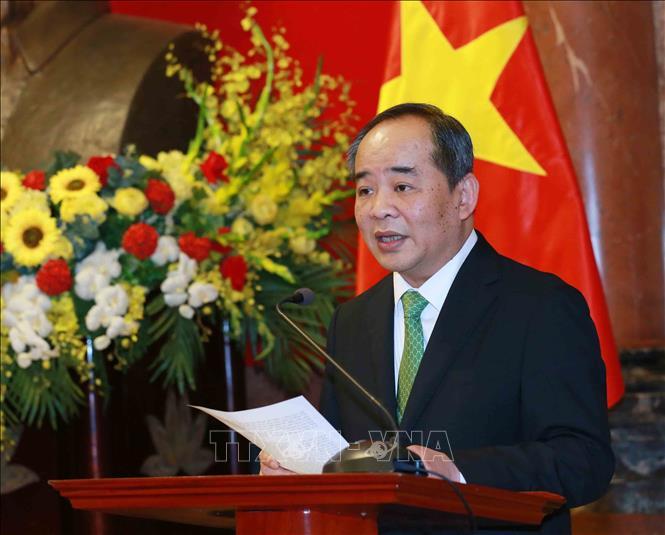Ông Lê Khánh Hải, Uỷ viên Trung ương Đảng, Chủ nhiệm Văn phòng Chủ tịch nước phát biểu tại Lễ công bố. Ảnh: TTXVN