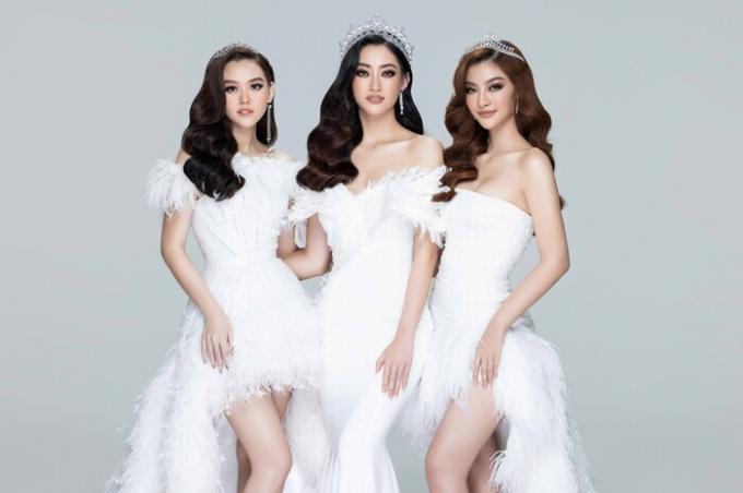 Hoa hậu Lương Thùy Linh (giữa), Á hậu Tường San (trái), Á hậu Kiều Loan (phải)