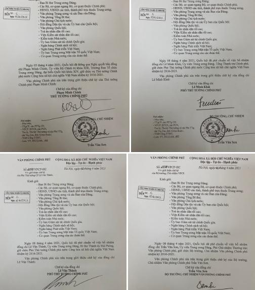 Văn bản giới thiệu chữ ký của Thủ tướng Phạm Minh Chính và 2 phó thủ tướng.