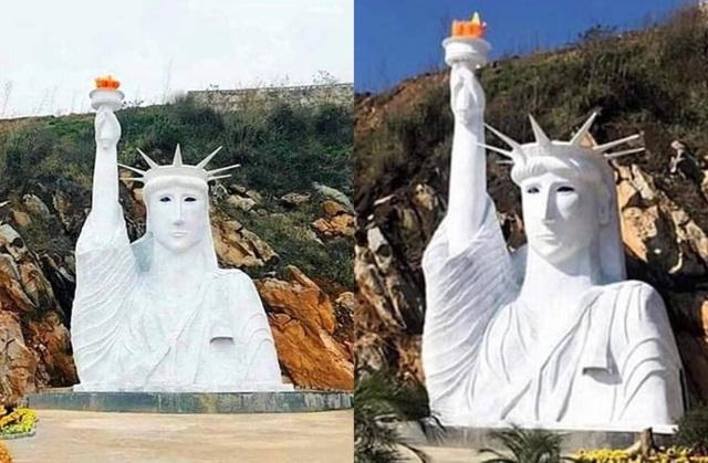 Hình ảnh bức tượng mô phỏng theo tượng nữ thần tự do đang được chia sẻ rầm rộ trên mạng xã hội.