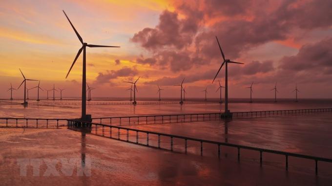 Nhà máy Điện Gió Bạc Liêu được xây dựng trên diện tích rộng trên 100ha, công suất 99MW, sản xuất khoảng 320 triệu kW/năm. (Nguồn: TTXVN)