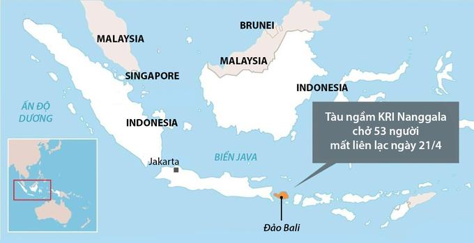 Vị trí tàu ngầm KRI Nanggala mất liên lạc. Đồ họa: AFP.