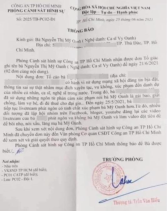 Vy Oanh gửi đơn tố cáo nữ doanh nhân vì bị xúc phạm và bôi nhọ danh dự