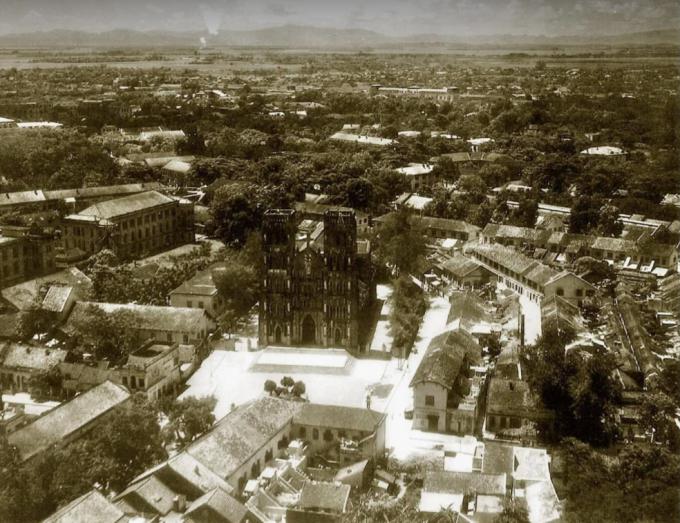 Khu vực Nhà thờ Lớn nhìn từ cao đầu thế kỷ 20