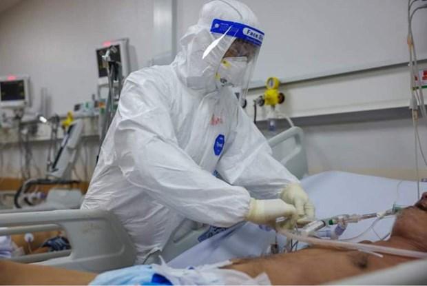 Điều trị cho bệnh nhân tại Bệnh viện Hồi sức COVID-19 Thành phố Hồ Chí Minh. (Ảnh: PV/Vietnam+)