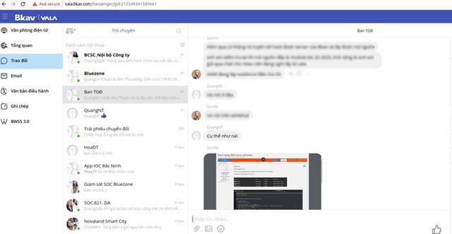 Ảnh chụp màn hình với nội dung được cho là cuộc hội thoại của các quản lý từ BKAV.