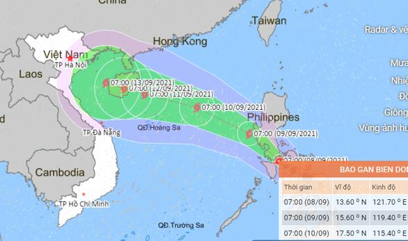 Vị trí và hướng di chuyển bão Conson - Ảnh: Trung tâm Dự báo khí tượng thủy văn quốc gia