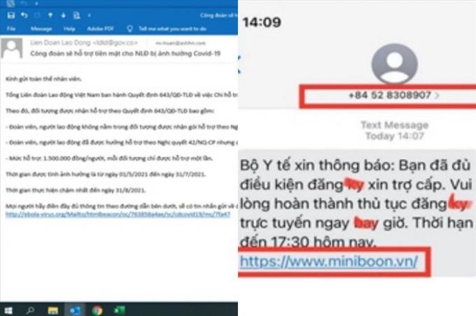 Email, tin nhắn của kẻ mạo danh cơ quan Nhà nước cung cấp gói hỗ trợ mùa dịch bị ngân hàng phát hiện