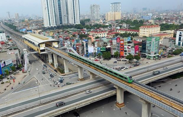Đoàn tàu của dự án đường sắt đô thị Cát Linh-Hà Đông. (Ảnh: Huy Hùng/TTXVN)