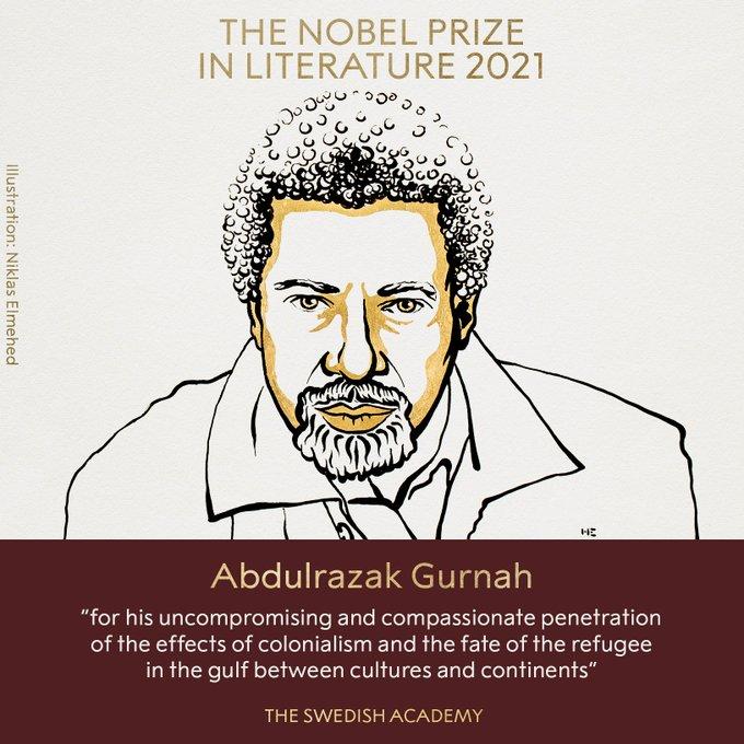 Chủ nhân Giải Nobel Văn học năm 2021, nhà văn người Tanzania Abdulrazak Gurnah. Ảnh: nobelprize.org