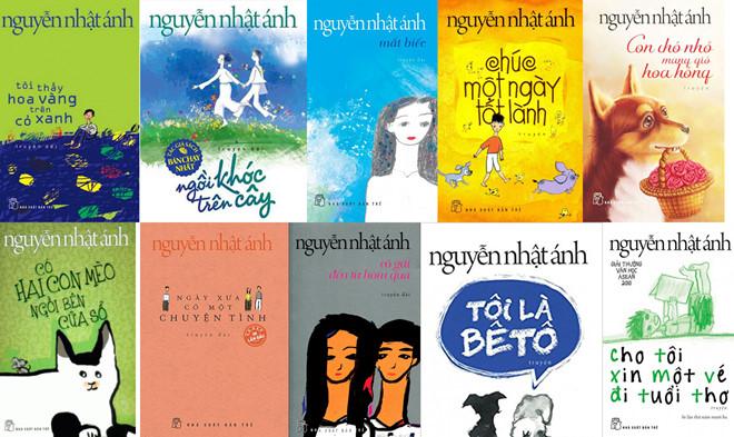 Một số tác phẩm của nhà văn Nguyễn Nhật Ánh.