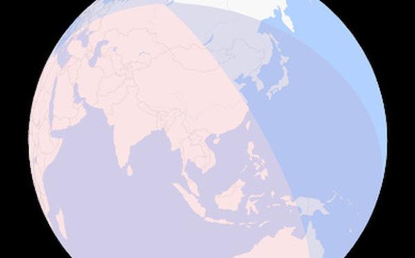 Bản đồ 3-D mô tả vùng quan sát được nguyệt thực nửa tối. Việt Nam nằm trong vùng sẽ chiêm ngưỡng cuộc xâm chiếm của