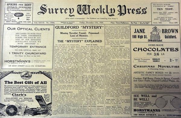 Nữ tiểu thuyết gia trinh thám Agatha Christie và 11 ngày mất tích bí ẩn