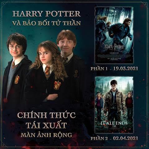 Harry Potter và Bảo Bối Tử Thầnphần 1 và phần 2 sẽ chính thức tái ngộ khán giả Việt trên màn ảnh rộng lần lượt từ 19.3 và 2.4.
