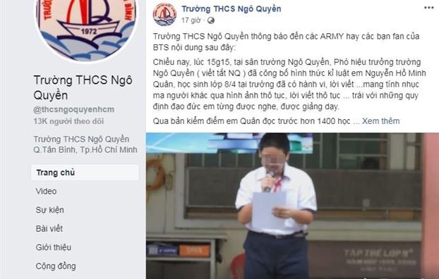 Vụ học sinh đọc kiểm điểm trước toàn trường vì xúc phạm nhóm nhạc Hàn Quốc BTS: Bộ GD&ĐT vào cuộc