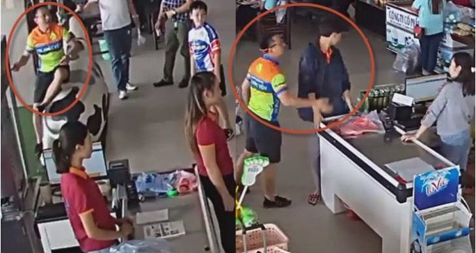 Hình ảnh người đàn ông ném gói xúc xích, tát nhân viêncửa hàng được camera ghi lại