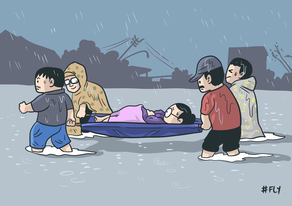 Những bức tranh về mưa bão miền Trung gây xúc động mạnh