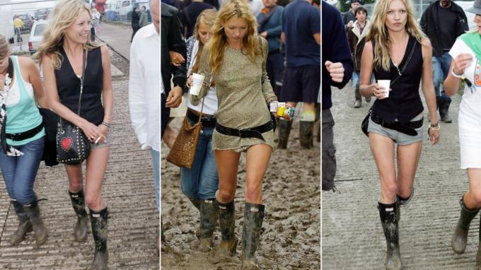 Kate Moss trong lễ hội âm nhạc Glastonbury năm 2005 (Ảnh: Getty Images/CNN).