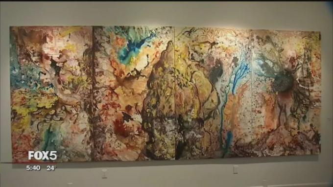 Bức tranh 4 miếng tại triển lãm của Xeo Chu (Ảnh từ clip).