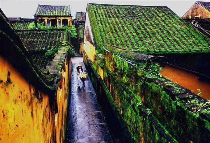 Thời gian vương trên mái ngói, trên những bức tường rêu thay đổi theo mùa.