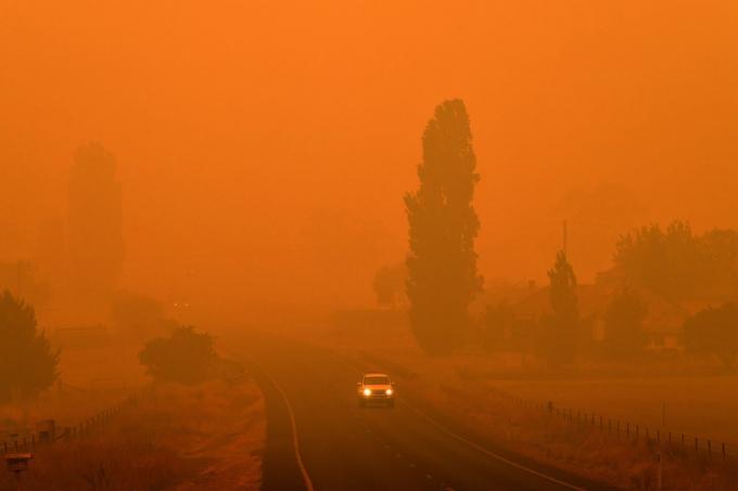 Người dân di chuyển trong làn khói dày đặc từ cháy rừng ở Bemboka, bang New South Wales của Úc hôm 5/1/2020 (Ảnh: Saeed Khan/AFP/Getty Images).