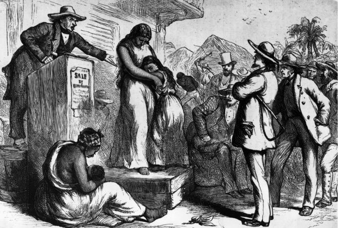Tranh minh họa về đấu gia nô lệ đầu năm ở Mỹ (Ảnh:Rischgitz/Hulton Archive—Getty Images).