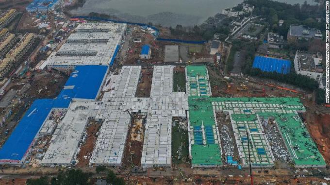 Bức ảnh nhìn từ trên cao của Bệnh viện Hỏa Thần Sơn trong giai đoạn xây dựng