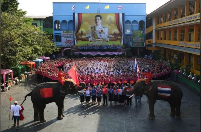 Hai chú voi tham gia cùng học sinh và giáo viên Thái Lan đã xếp thành hình trái tim để gửi lời chúc tới Trung Quốc nhân dịp valentine tại một trường học tạiAyutthaya (Ảnh:REUTERS/Chalinee Thirasupa).