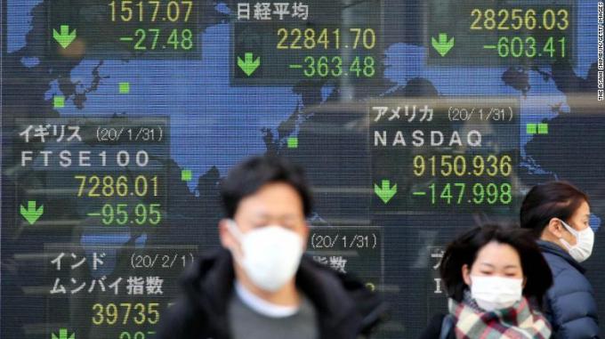 Người dân Tokyo đi qua bảng điện tử hiện những con số ảm đạm của giá cổ phiếu thị trường châu Á hôm 3/2.