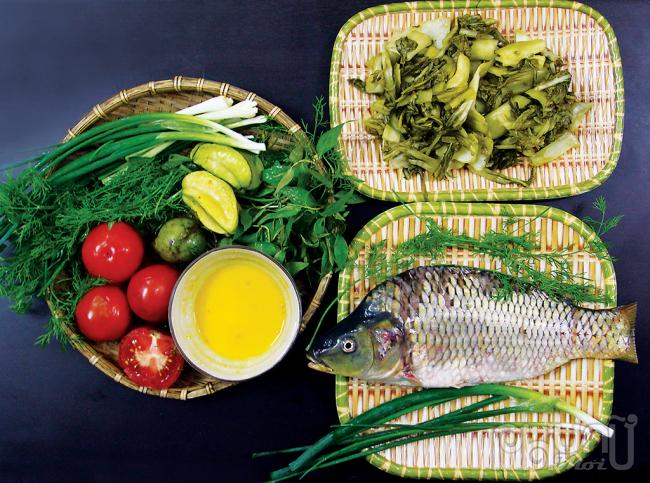 Nguyên liệu nấu món riêu cá.