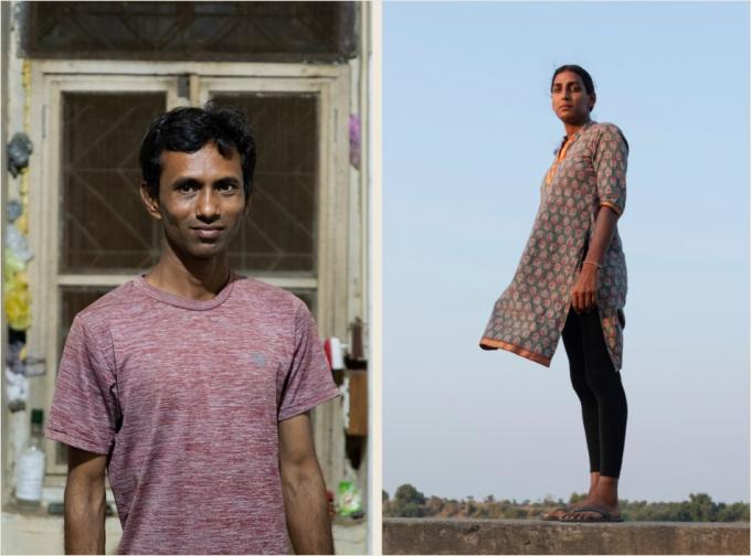 Shailesh Raval (trái) tìm đến trung tâm xin tư vấn từ hoàng tử Manvendra và đã ở lại và làm việc tại trung tâm. Riya Patel (phải) là người chuyển giới hiện đang làm quản lý tại trung tâm (Ảnh: Atlas Obscura).