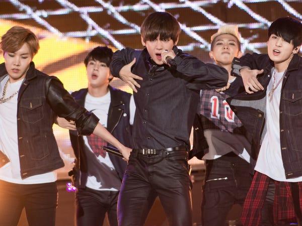 BTS biểu diễn năm 2014 tại Incheon, Hàn Quốc (Ảnh:Choi Soo-Young/Getty Images).
