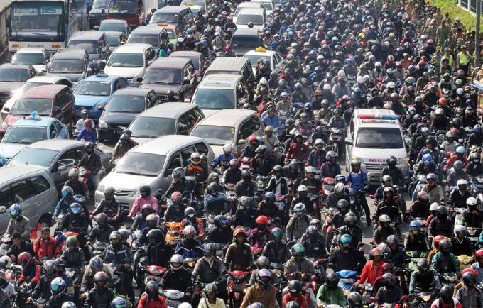 Cảnh tắc đường ở Jakarta, Indonesia.
