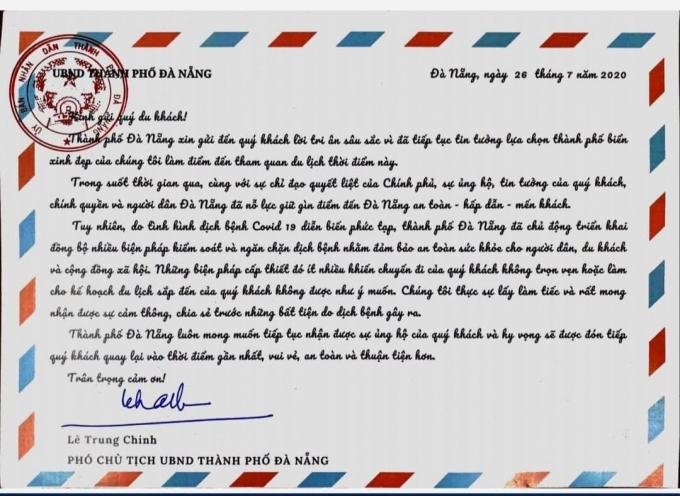 Bức tâm thư đầy xúc động của Phó Chủ tịch Ủy ban nhân dân thành phố Đà Nẵng gửi tới du khách thời gian vừa qua